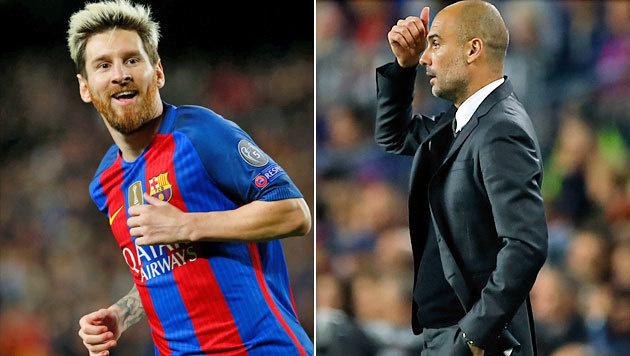 "Triplepack! Messi schießt seinen ""Ex"" Guardiola ab (Bild: APA/AFP/PAU BARRENA, AP)"