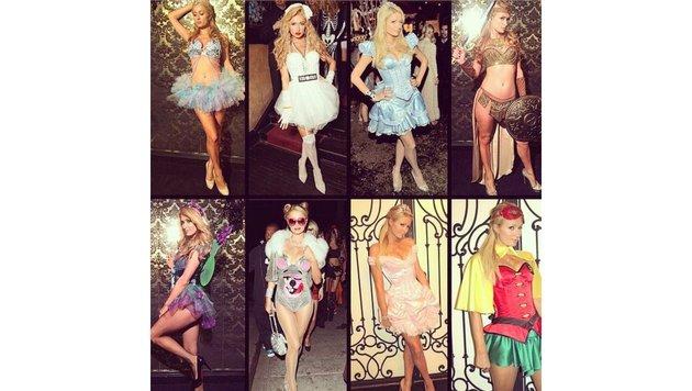 Einige Halloween-Kostüme von Paris Hilton in den letzten Jahren. (Bild: face to face)