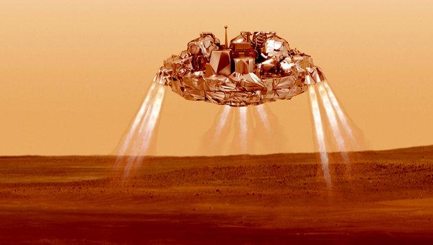 "So sollte ""Schiaparelli"" auf dem Roten Planeten landen. (Bild: ESA/ATG medialab)"