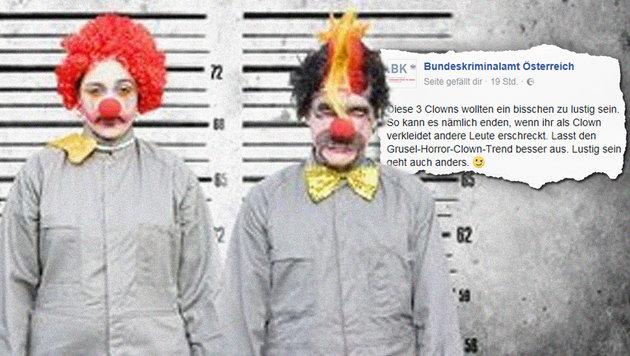 Deutsche Senioren fordern Verbot der Horror-Clowns (Bild: facebook.com/Bundeskriminalamt Österreich)