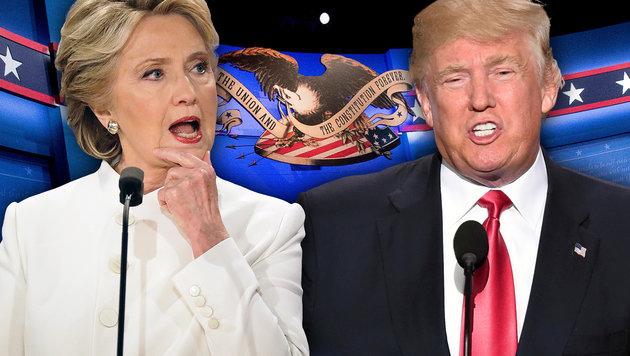 ABC-Umfrage: Clinton mit Rekordvorsprung vor Trump (Bild: AP/Andrew Harnik, AFP/ROBYN BECK, AP/Patrick Semansky)