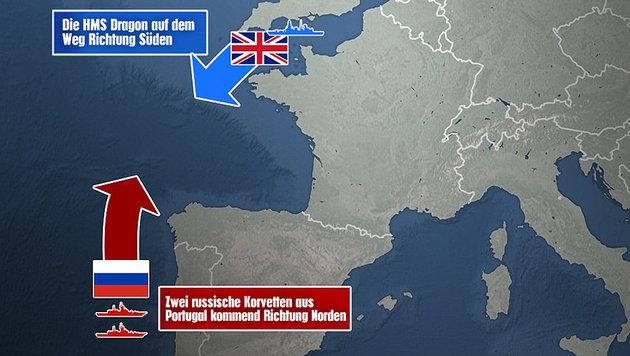 """Briten schlagen Alarm: """"Die Russen kommen"""" (Bild: """"Daily Mail""""- Grafik)"""