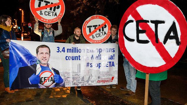 Kanadas Gewerkschaft unterstützt die Wallonen (Bild: AFP/FRANCOIS GUILLOT, APA/AFP/Belga/NICOLAS LAMBERT)