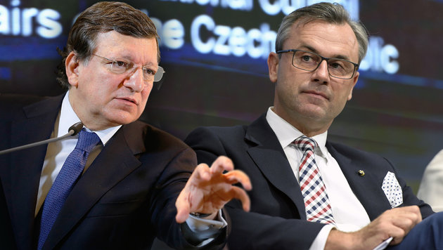Ex-EU-Chef Barroso: Nazi-Pöbelei gegen Hofer (Bild: APA/KEYSTONE/MARTIAL TREZZINI, APA/Andy Wenzel/BUNDESKANZLERAMT)