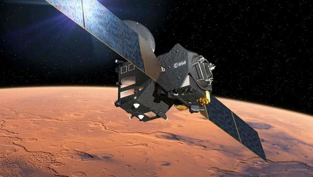 """Illustration: Der """"Trace Gas Orbiter"""" auf seiner Bahn um den Mars (Bild: ESA/D. Ducros)"""