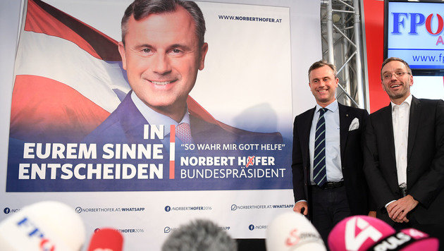 "Neue Hofer-Wahlplakate: ""So wahr mir Gott helfe"" (Bild: APA/HELMUT FOHRINGER)"