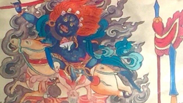 Ein guter (!) Geist im Tibet-Museum von Xining: Sein Bild soll Dämonen verschrecken. (Bild: Richard Schmitt)
