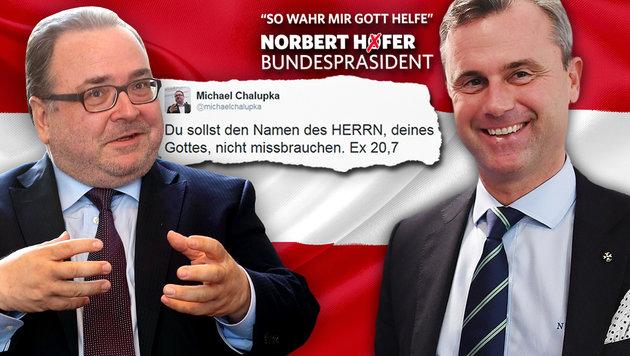 """""""Lassen uns den Begriff Gott nicht nehmen!"""" (Bild: Jürgen Radspieler, twitter.com, APA, thinkstockphotos.de)"""