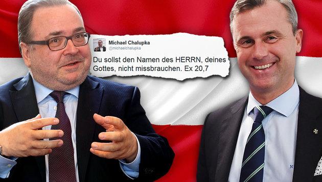 """""""Du sollst den Namen des Herrn nicht missbrauchen"""" (Bild: Jürgen Radspieler, twitter.com, APA, thinkstockphotos.de)"""