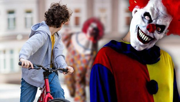 Grusel-Clown stößt 14-Jährigen von Rad - verletzt (Bild: thinkstockphotos.de, YouTube.com)