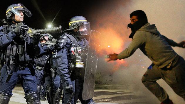 Zusammenstöße zwischen Polizei und Migranten im französischen Flüchtlingslager Calais (Bild: EPA/ETIENNE LAURENT, AP/Emilio Morenatti)