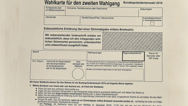 Hofburg-Wahlkarten liegen ab 7.11. bereit (Bild: APA/HERBERT NEUBAUER)