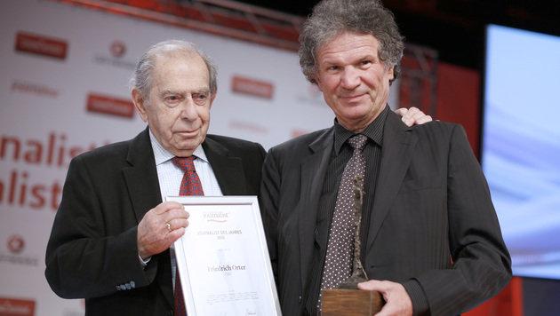 Orter mit Paul Lendvai anlässlich der Auszeichnung zum Journalisten des Jahres 2012 (Bild: APA/GEORG HOCHMUTH)