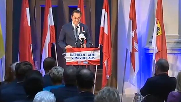 Strache während seiner Rede im Palais Epstein (Bild: APA)