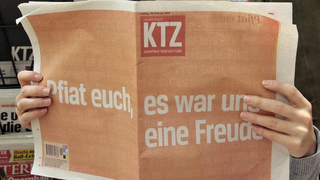 """Die letzte Ausgabe der """"Kärntner Tageszeitung"""" (Bild: APA/GERT EGGENBERGER)"""