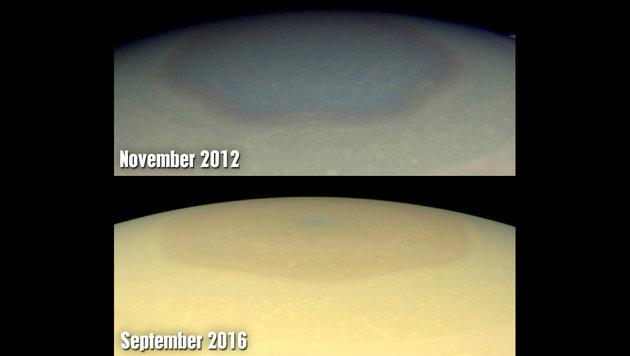 Saturn-Nordpol hat seit 2012 seine Farbe verändert (Bild: NASA/JPL-Caltech/SSI/Hampton University)