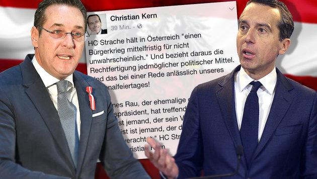 "Bundeskanzler Kern: ""Strache ist kein Patriot!"" (Bild: APA/Helmut Fohringer, APA/Herbert Pfarrhofer, Facebook.com)"