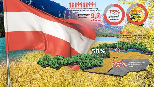 """Die Natur und ihr guter Zustand landen bei den Stärken des Landes unter den Top 5. (Bild: """"Krone""""-Grafik, thinkstockphotos.de)"""