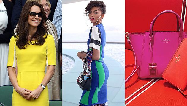 Gelb, royales Blau, Grasgrün, Pink und Orange gelten als heiße Trendfarben für 2017. (Bild: Viennareport, instagram.com/louisvuitton, katespadeny)