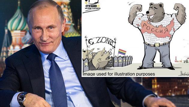 """Russische Botschaft ätzt über """"schwules"""" Europa (Bild: twitter.com/RussianEmbassy, AP, thinkstockphotos.de)"""