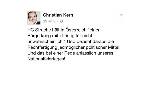 """Bundeskanzler Kern: """"Strache ist kein Patriot!"""" (Bild: Facebook.com)"""