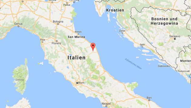 Das Epizentrum des Bebens lag in der Provinz Macerata. (Bild: Google Maps)