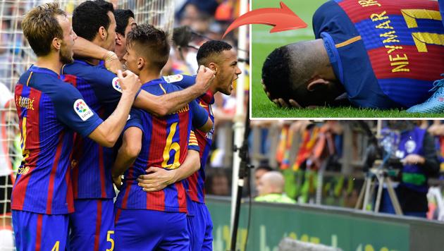 Flaschenwerfer: Schwere Vorw�rfe gegen Neymar! (Bild: APA/AFP/JOSE JORDAN, AP)