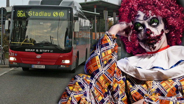 Der Grusel-Clown randalierte in einem Bus der Linie 86A in der Station Vernholzgasse in Donaustadt. (Bild: Peter Tomschi, thinkstockphotos.de)