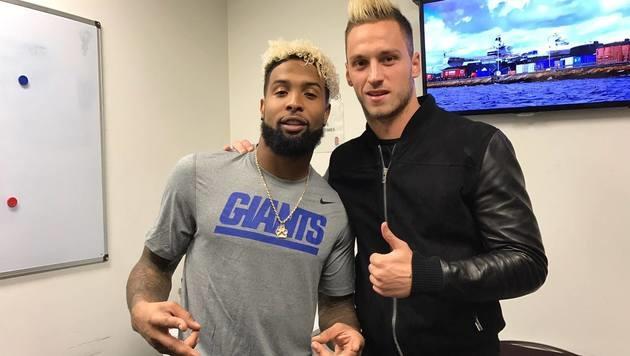 ÖFB-Teamkicker Marko Arnautovic traf NFL-Superstar Odell Beckham Jr. (Bild: facebook.com)