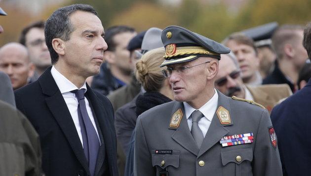 Kanzler Kern mit Generalstabschef Othmar Commenda (Bild: Klemens Groh)