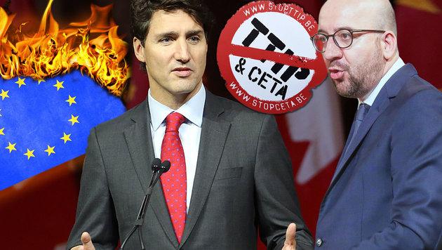 Kanadas Premier Trudeau (li.) und sein belgischer Kollege Michel (Bild: thinkstockphotos.de, AFP)