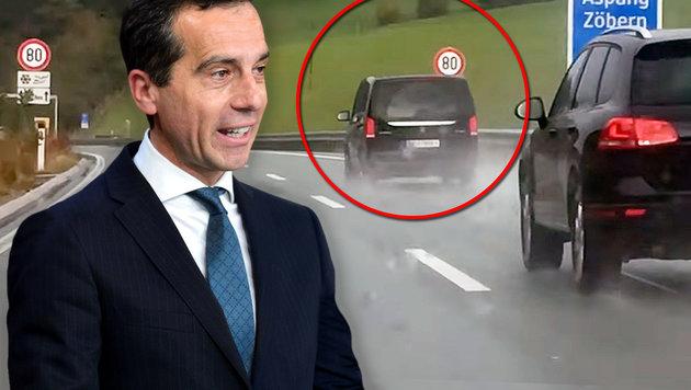 """Kanzler Kern - auf der A2 bei Zöbern """"erwischt"""" (Bild: AFP/Fabrice Coffrini, privat)"""