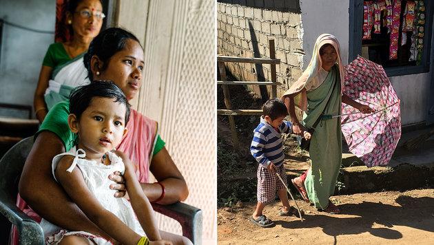 Links: Die kleine Dikita leidet an Lähmungen. Rechts: Viele blicken in eine ungewisse Zukunft. (Bild: Gregor Kuntscher, Gregor Brandl)