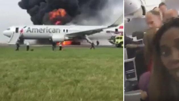 Schock bei Flugzeugstart: Triebwerk in Flammen (Bild: RuptlyTV, YouTube.com)