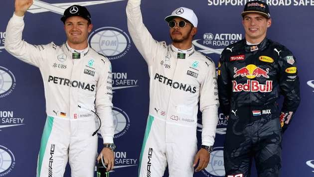 Nico Rosberg, Lewis Hamilton und Max Verstappen (Bild: APA/AFP/GETTY IMAGES/Mark Thompson)