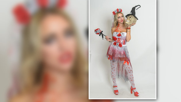 Vor dem Lokalbesuch setzte sich die 26-Jährige beim Halloween-Shooting gewohnt sexy in Szene. (Bild: Andreas Tischler)
