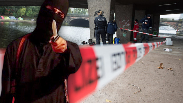 Islamistin attackiert Polizisten mit Messer (Bild: APA/dpa/Daniel Reinhardt, AFP)