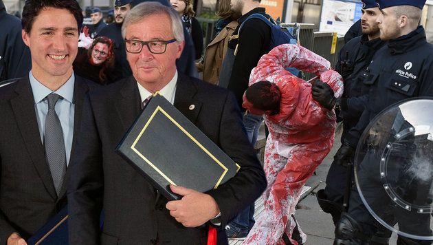 Handelspakt CETA von EU und Kanada unterzeichnet (Bild: APA/AFP/JOHN THYS, AP)