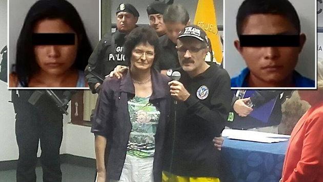 Der Salzburger konnte seine Frau wieder in die Arme schließen; zwei der Verdächtigen (kleine Bilder) (Bild: Policia Ecuador)