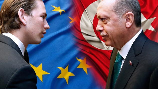 Außenminister Sebastian Kurz, der türkische Präsident Recep Tayyip Erdogan (Bild: APA/Dragan Tatic, thinkstockphotos.de)