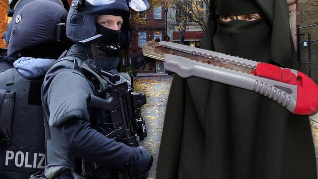 Islamistin attackiert Polizisten mit Messer (Bild: dpa, thinkstockphotos.de)