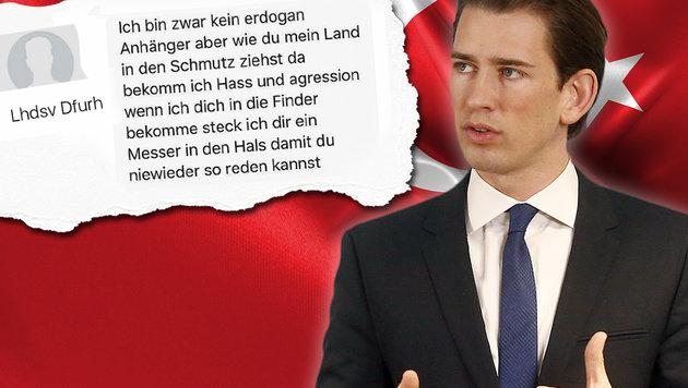 Morddrohungen gegen Erdogan-Kritiker Kurz (Bild: facebook.com, thinkstockphotos.de, APA/APA/AUSSENMINISTERIUM/DRA)
