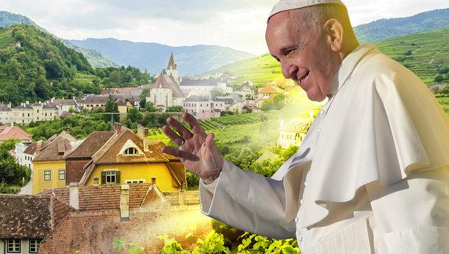Papst segnete Österreich aus dem Flugzeug heraus (Bild: AP, thinkstockphotos.de)