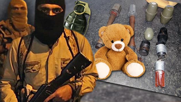 So grausam sind die Teddybär-Bomben des IS (Bild: twitter.com/Terrormonitor, thinkstockphotos.de, Polizei)