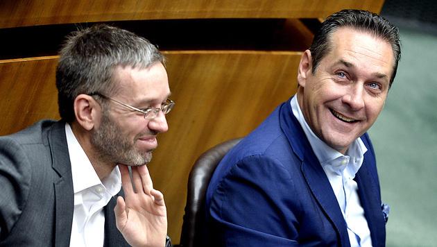 Generalsekretär Herbert Kickl und Parteichef Heinz-Christian Strache, FPÖ (Bild: APA/Herbert Neubauer)