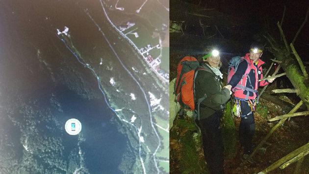 So sah der Screenshot aus, den der Schweizer versandte (l.). Rechts: Die abendliche Alpinbergung. (Bild: Bergrettung Bad Ischl)