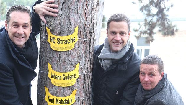 Das FPÖ-Trio Strache, Gudenus und Mahdalik (v.l.) (Bild: zwefo)