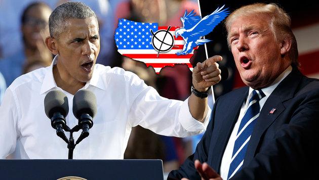 """Obama: """"Schicksal der Welt steht am Abgrund"""" (Bild: AP/Gerry Broome, AP/Evan Vucci, krone.at-Grafik)"""