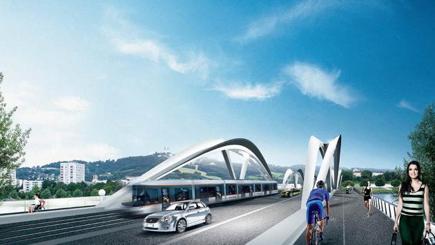 So soll die neue Brücke in Linz aussehen - was der Umweltanwalt aber kritisiert! (Bild: Linz AG)