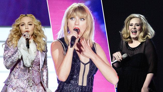 Taylor Swift ist Gagenkaiserin in der Musikbranche (Bild: AFP/SUZANNE CORDEIRO, AFP/KEVIN WINTER, AP/Joel Ryan)